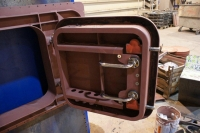 Watertight escape hatch custom build - open - with pins